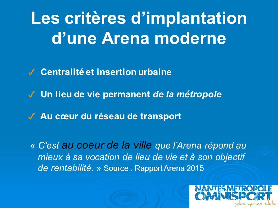 Les critères dimplantation dune Arena moderne Centralité et insertion urbaine Un lieu de vie permanent de la métropole Au cœur du réseau de transport