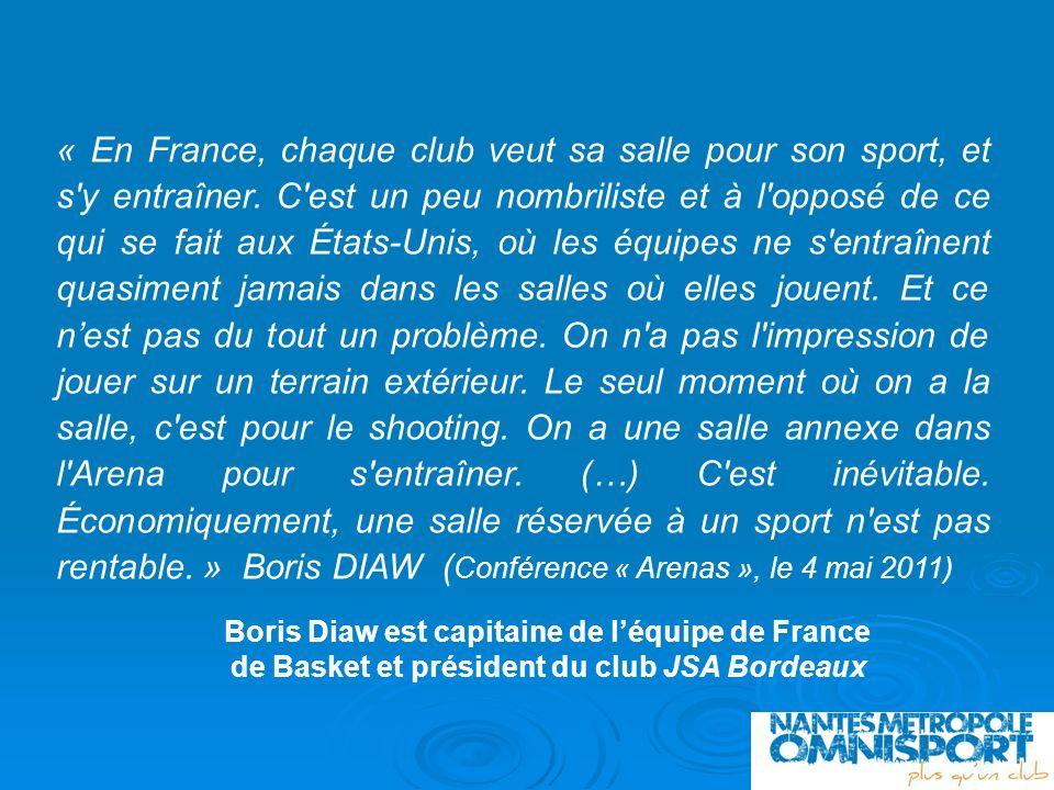 « En France, chaque club veut sa salle pour son sport, et s'y entraîner. C'est un peu nombriliste et à l'opposé de ce qui se fait aux États-Unis, où l