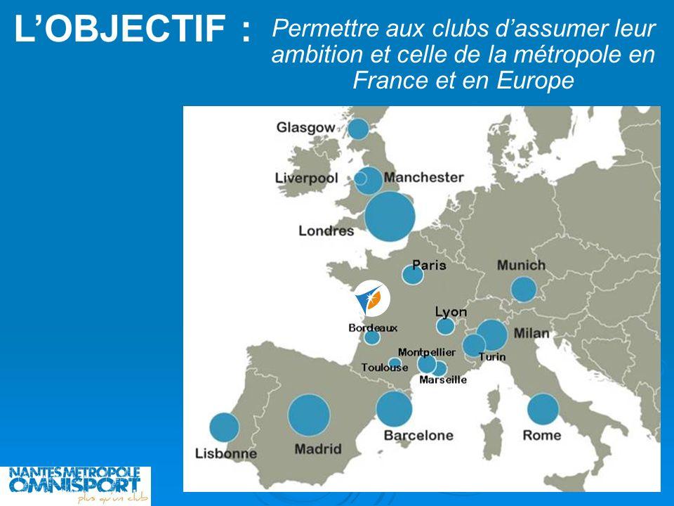 LOBJECTIF : Permettre aux clubs dassumer leur ambition et celle de la métropole en France et en Europe