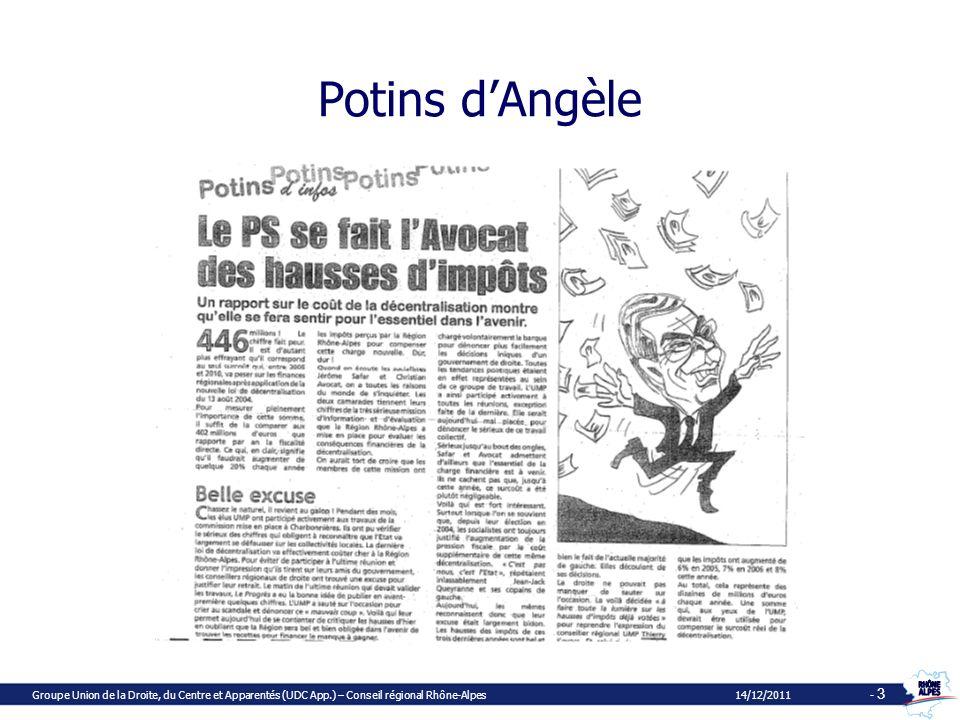 Dauphiné Libéré 1er décembre 2007 Groupe Union de la Droite, du Centre et Apparentés (UDC App.) – Conseil régional Rhône-Alpes 14/12/2011 - 4
