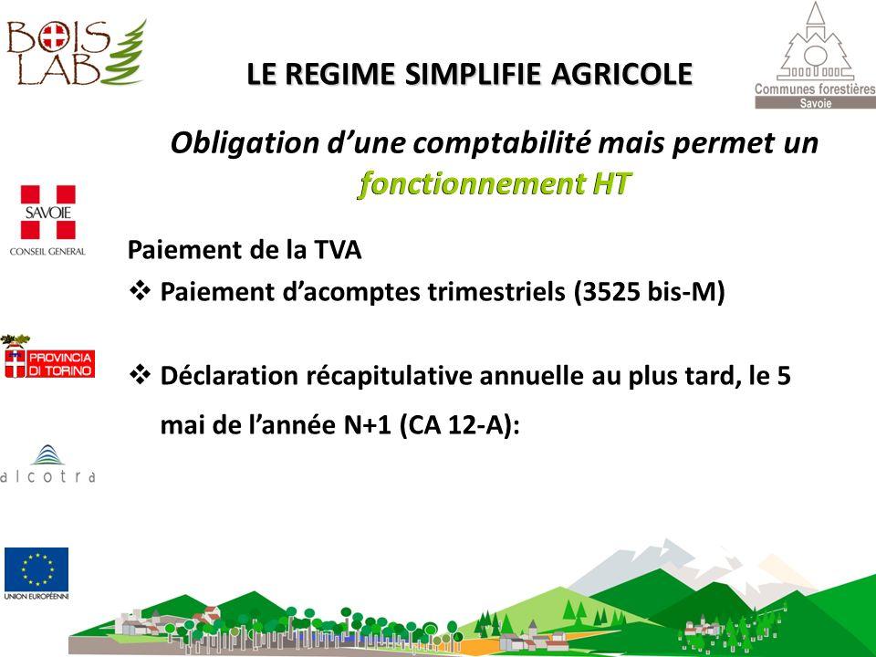 Paiement de la TVA Paiement dacomptes trimestriels (3525 bis-M) Déclaration récapitulative annuelle au plus tard, le 5 mai de lannée N+1 (CA 12-A): LE