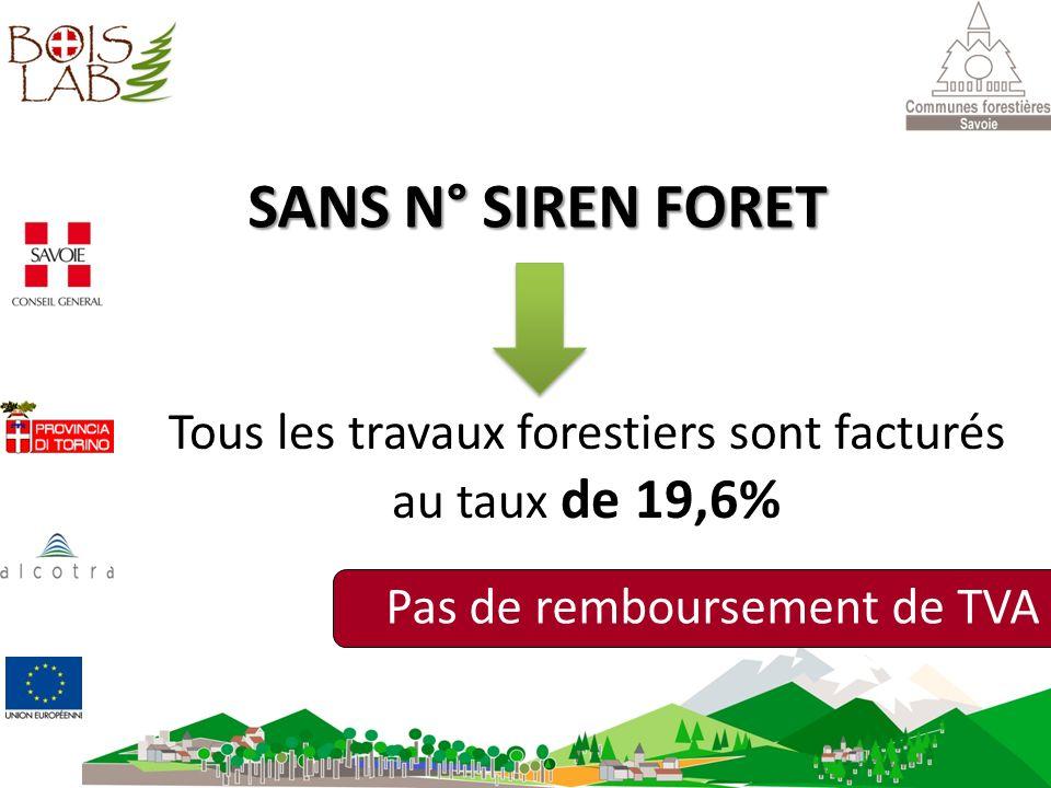 SANS N° SIREN FORET Tous les travaux forestiers sont facturés au taux de 19,6% Pas de remboursement de TVA