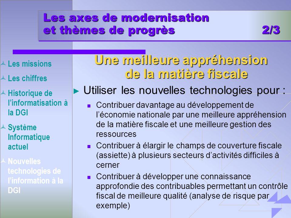 Les axes de modernisation et thèmes de progrès 2/3 Utiliser les nouvelles technologies pour : Contribuer davantage au développement de léconomie natio