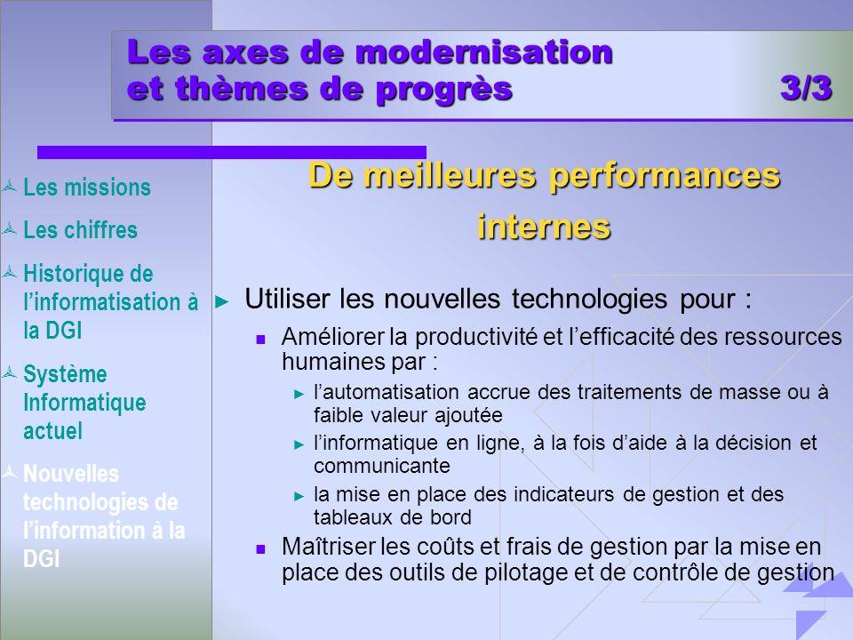 Les axes de modernisation et thèmes de progrès 3/3 Utiliser les nouvelles technologies pour : Améliorer la productivité et lefficacité des ressources