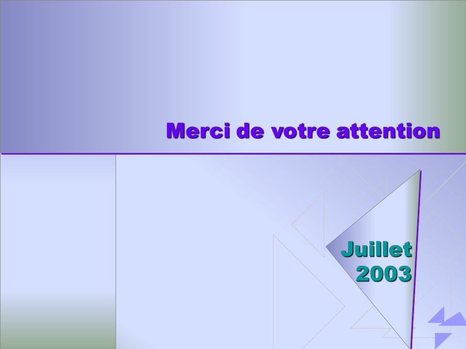 Merci de votre attention Juillet 2003