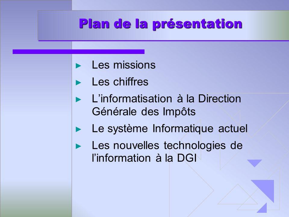 Plan de la présentation Plan de la présentation Les missions Les chiffres Linformatisation à la Direction Générale des Impôts Le système Informatique