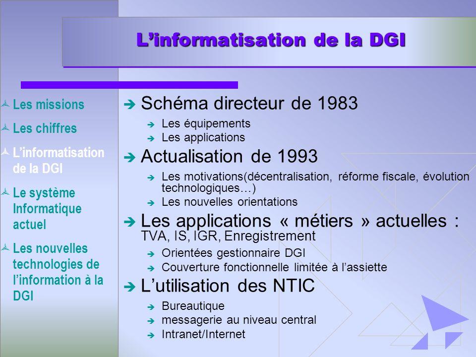 Linformatisation de la DGI è Schéma directeur de 1983 è Les équipements è Les applications è Actualisation de 1993 è Les motivations(décentralisation,