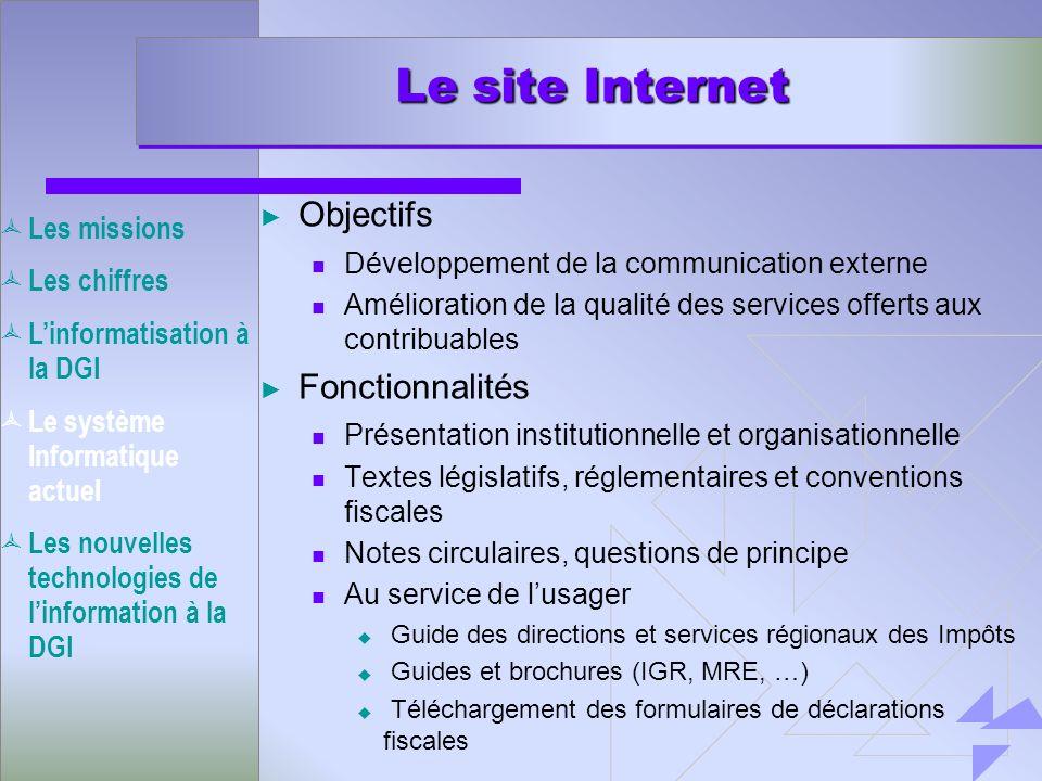 Le site Internet Objectifs Développement de la communication externe Amélioration de la qualité des services offerts aux contribuables Fonctionnalités