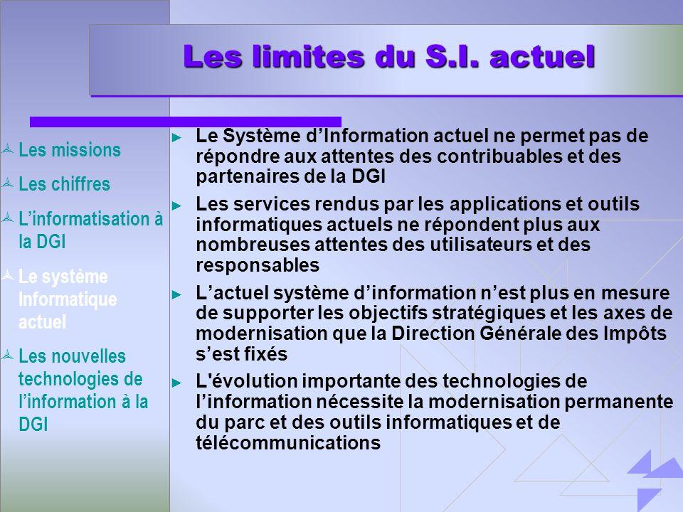 Les limites du S.I. actuel Le Système dInformation actuel ne permet pas de répondre aux attentes des contribuables et des partenaires de la DGI Les se