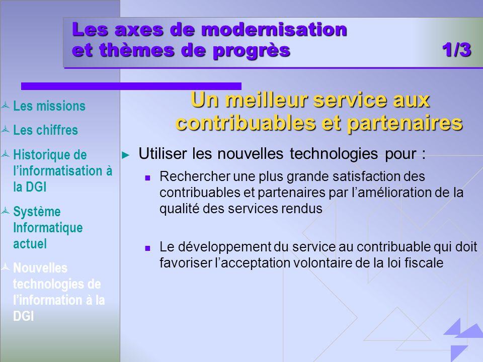 Les axes de modernisation et thèmes de progrès 1/3 Utiliser les nouvelles technologies pour : Rechercher une plus grande satisfaction des contribuable