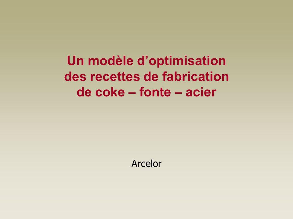 Un modèle doptimisation des recettes de fabrication de coke – fonte – acier Arcelor