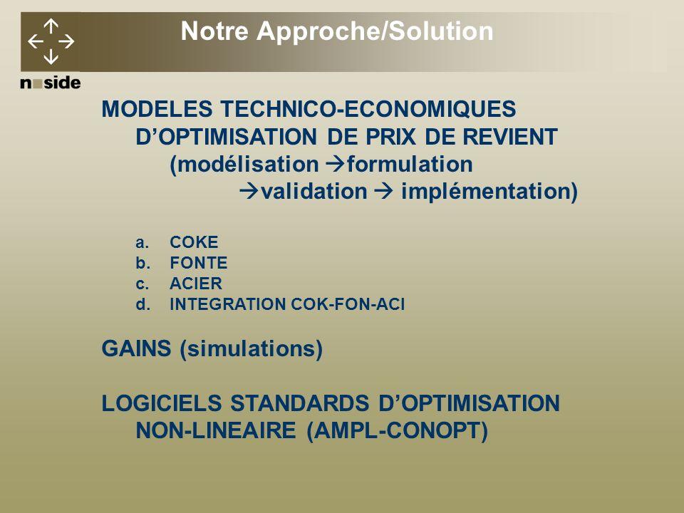 MODELES TECHNICO-ECONOMIQUES DOPTIMISATION DE PRIX DE REVIENT (modélisation formulation validation implémentation) a.COKE b.FONTE c.ACIER d.INTEGRATION COK-FON-ACI GAINS (simulations) LOGICIELS STANDARDS DOPTIMISATION NON-LINEAIRE (AMPL-CONOPT) Notre Approche/Solution