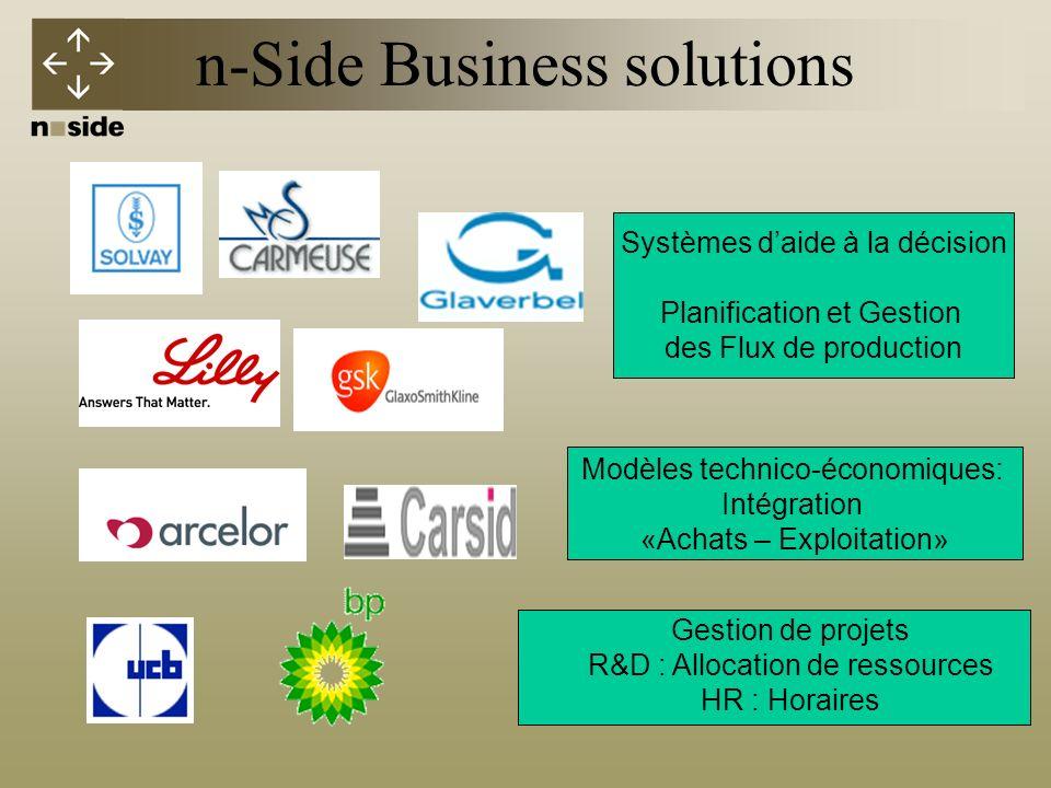n-Side Business solutions Systèmes daide à la décision Planification et Gestion des Flux de production Modèles technico-économiques: Intégration «Achats – Exploitation» Gestion de projets R&D : Allocation de ressources HR : Horaires