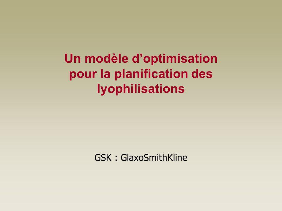 Un modèle doptimisation pour la planification des lyophilisations GSK : GlaxoSmithKline
