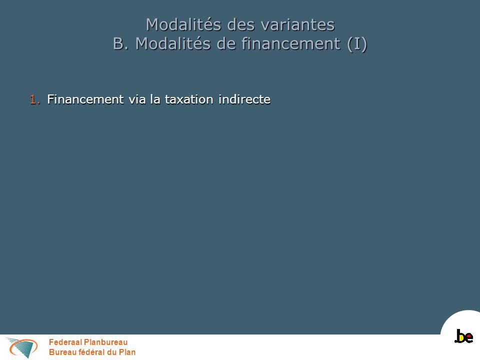 Federaal Planbureau Bureau fédéral du Plan Modalités des variantes B. Modalités de financement (I) 1.Financement via la taxation indirecte
