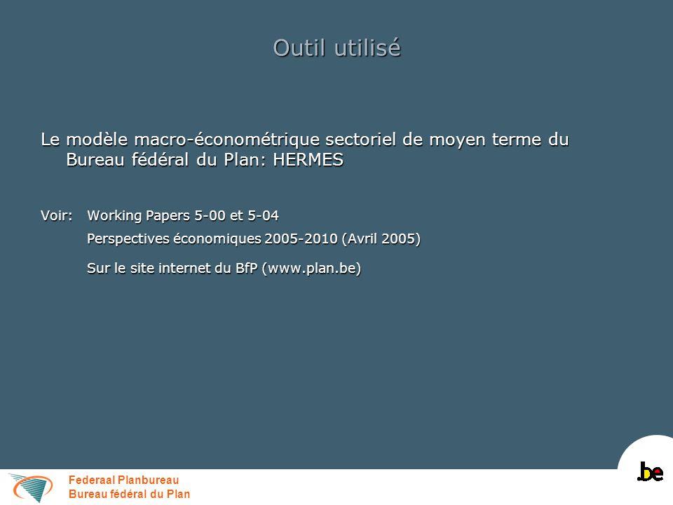 Federaal Planbureau Bureau fédéral du Plan Outil utilisé Le modèle macro-économétrique sectoriel de moyen terme du Bureau fédéral du Plan: HERMES Voir