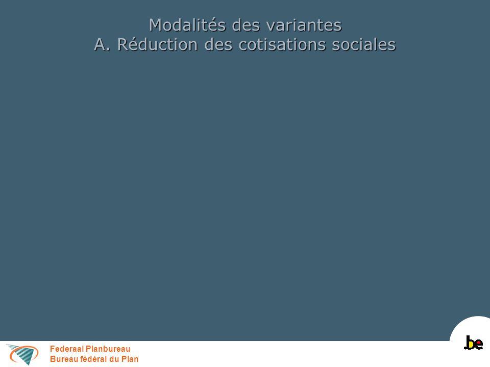 Federaal Planbureau Bureau fédéral du Plan Modalités des variantes A. Réduction des cotisations sociales