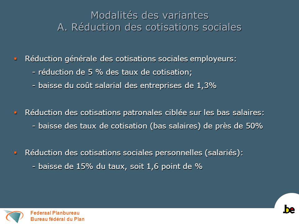 Federaal Planbureau Bureau fédéral du Plan Modalités des variantes A. Réduction des cotisations sociales Réduction générale des cotisations sociales e