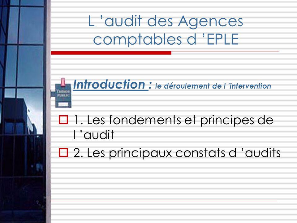 L audit des Agences comptables d EPLE Introduction : le déroulement de l intervention 1. Les fondements et principes de l audit 2. Les principaux cons