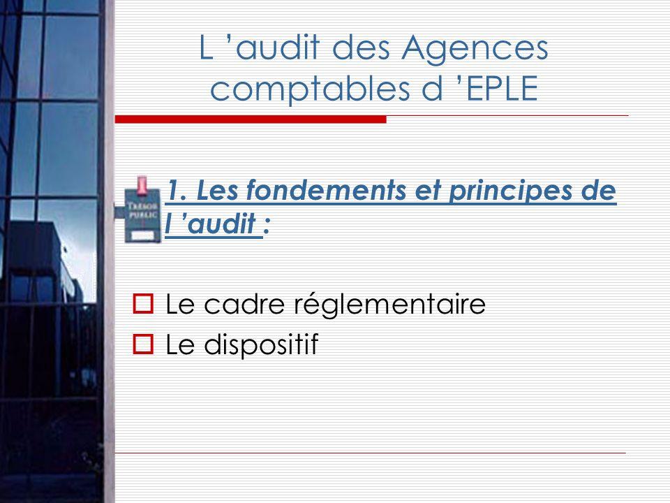 L audit des Agences comptables d EPLE 1. Les fondements et principes de l audit : Le cadre réglementaire Le dispositif
