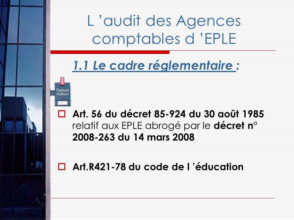 L audit des Agences comptables d EPLE 1.1 Le cadre réglementaire : Art. 56 du décret 85-924 du 30 août 1985 relatif aux EPLE abrogé par le décret n° 2