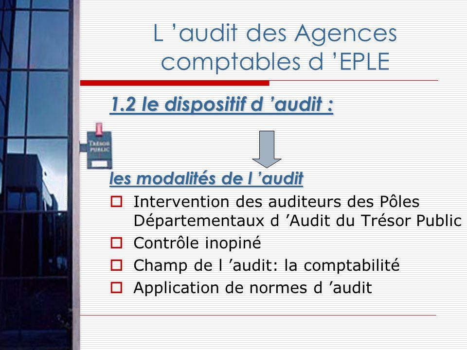 1.2 le dispositif d audit : les modalités de l audit Intervention des auditeurs des Pôles Départementaux d Audit du Trésor Public Contrôle inopiné Cha