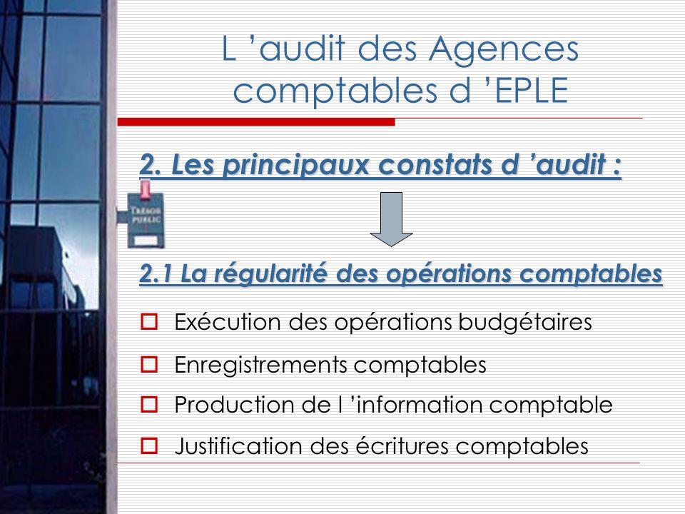 2. Les principaux constats d audit : 2.1 La régularité des opérations comptables Exécution des opérations budgétaires Enregistrements comptables Produ