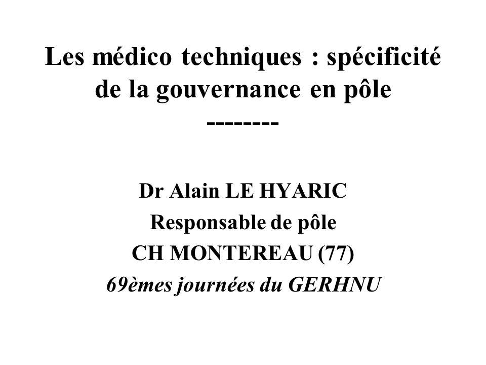 Les médico techniques : spécificité de la gouvernance en pôle -------- Dr Alain LE HYARIC Responsable de pôle CH MONTEREAU (77) 69èmes journées du GERHNU