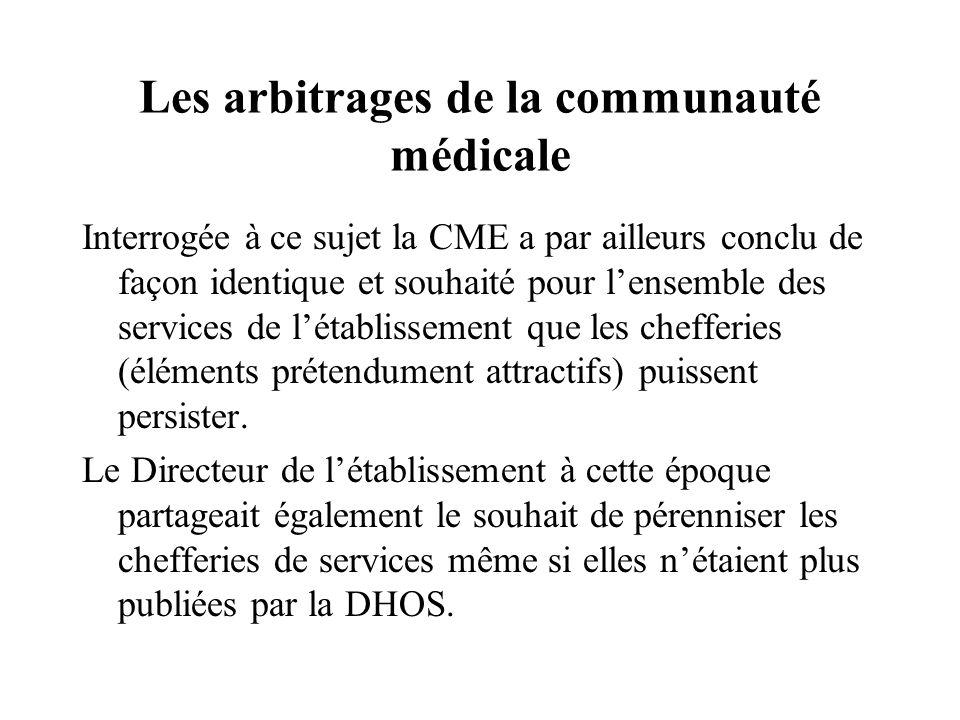 Les arbitrages de la communauté médicale Interrogée à ce sujet la CME a par ailleurs conclu de façon identique et souhaité pour lensemble des services de létablissement que les chefferies (éléments prétendument attractifs) puissent persister.