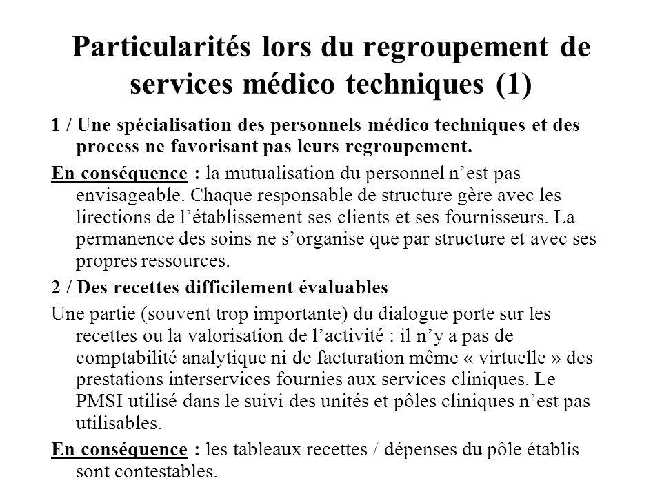 Particularités lors du regroupement de services médico techniques (1) 1 / Une spécialisation des personnels médico techniques et des process ne favorisant pas leurs regroupement.