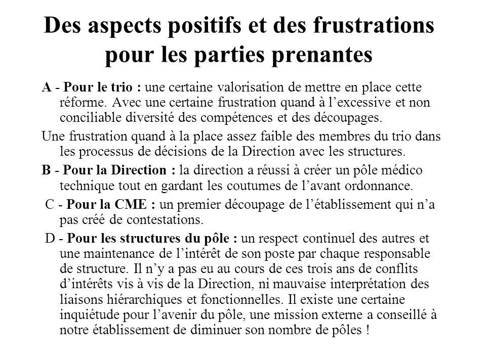 Des aspects positifs et des frustrations pour les parties prenantes A - Pour le trio : une certaine valorisation de mettre en place cette réforme.