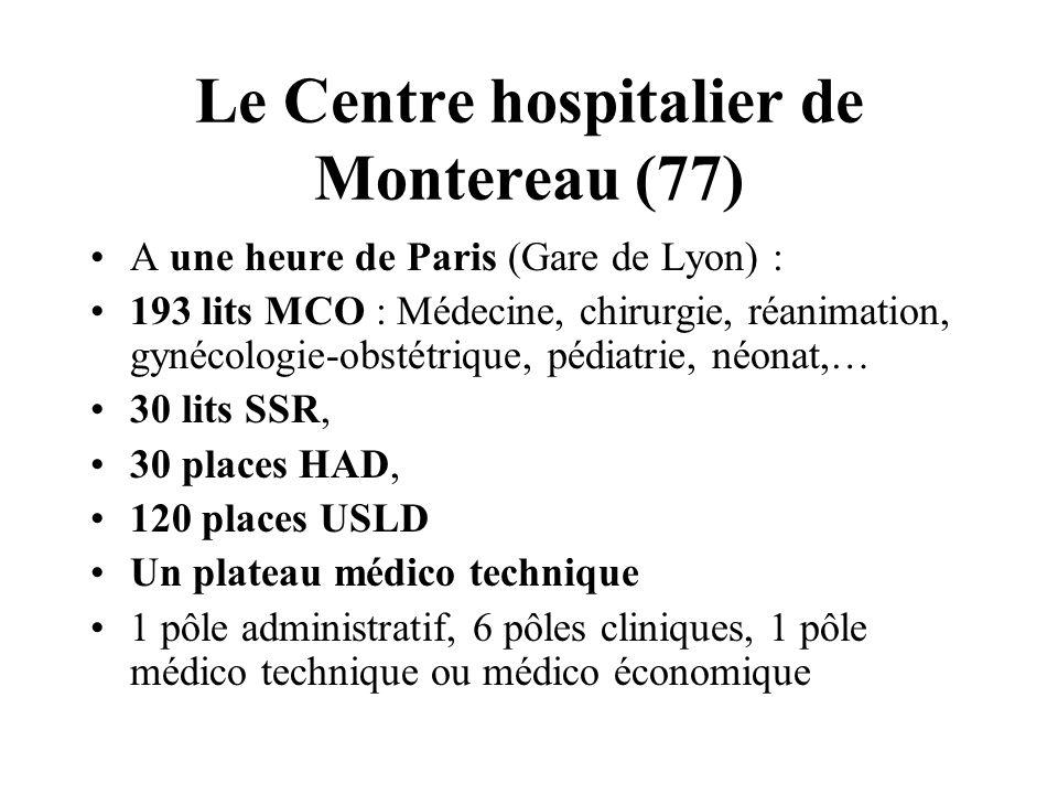 Le Centre hospitalier de Montereau (77) A une heure de Paris (Gare de Lyon) : 193 lits MCO : Médecine, chirurgie, réanimation, gynécologie-obstétrique, pédiatrie, néonat,… 30 lits SSR, 30 places HAD, 120 places USLD Un plateau médico technique 1 pôle administratif, 6 pôles cliniques, 1 pôle médico technique ou médico économique
