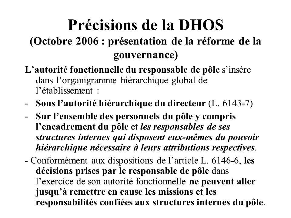 Précisions de la DHOS (Octobre 2006 : présentation de la réforme de la gouvernance) Lautorité fonctionnelle du responsable de pôle sinsère dans lorganigramme hiérarchique global de létablissement : -Sous lautorité hiérarchique du directeur (L.