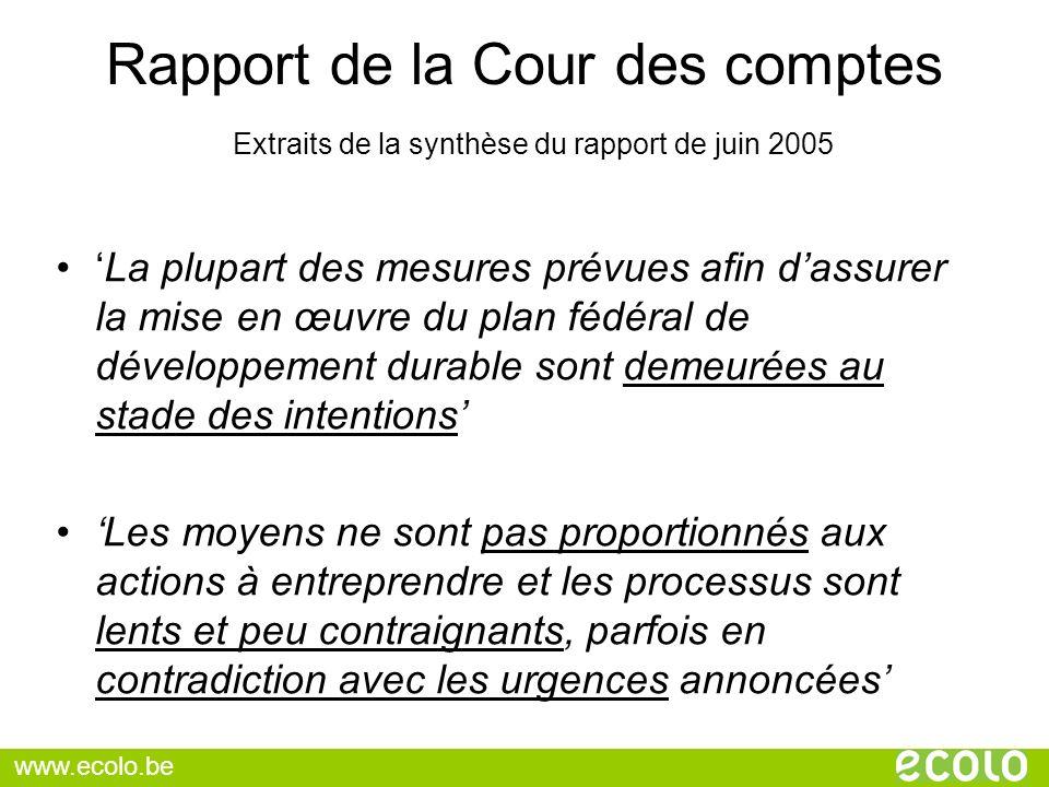 Rapport de la Cour des comptes Extraits de la synthèse du rapport de juin 2005 La plupart des mesures prévues afin dassurer la mise en œuvre du plan f