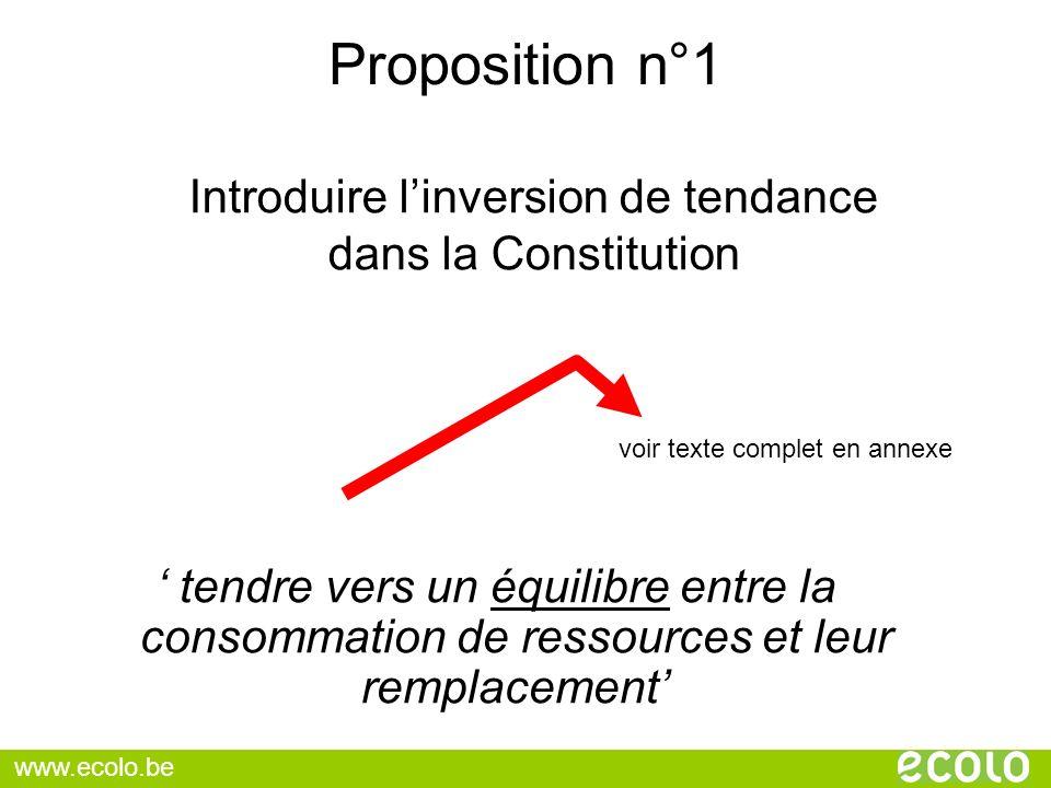 Proposition n°1 tendre vers un équilibre entre la consommation de ressources et leur remplacement Introduire linversion de tendance dans la Constituti