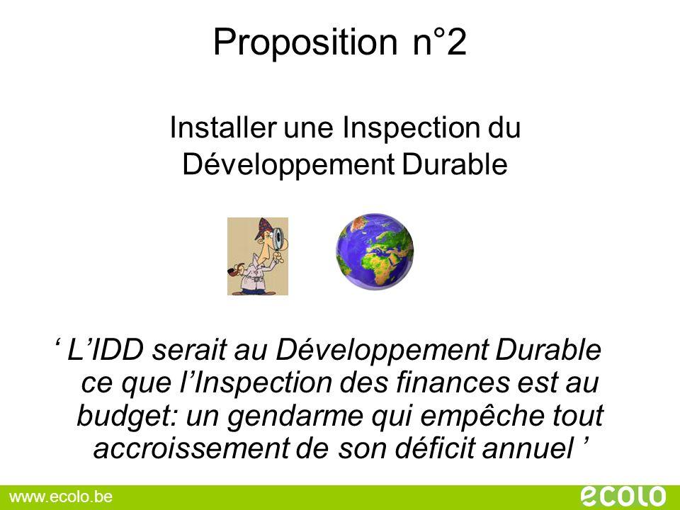 Proposition n°2 LIDD serait au Développement Durable ce que lInspection des finances est au budget: un gendarme qui empêche tout accroissement de son