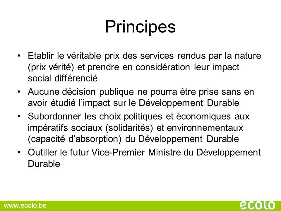 Principes Etablir le véritable prix des services rendus par la nature (prix vérité) et prendre en considération leur impact social différencié Aucune
