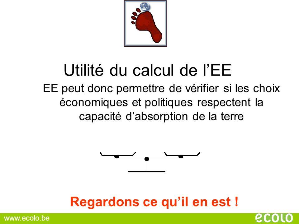 Utilité du calcul de lEE EE peut donc permettre de vérifier si les choix économiques et politiques respectent la capacité dabsorption de la terre Rega