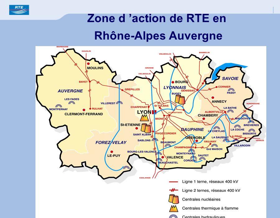 Zone d action de RTE en Rhône-Alpes Auvergne