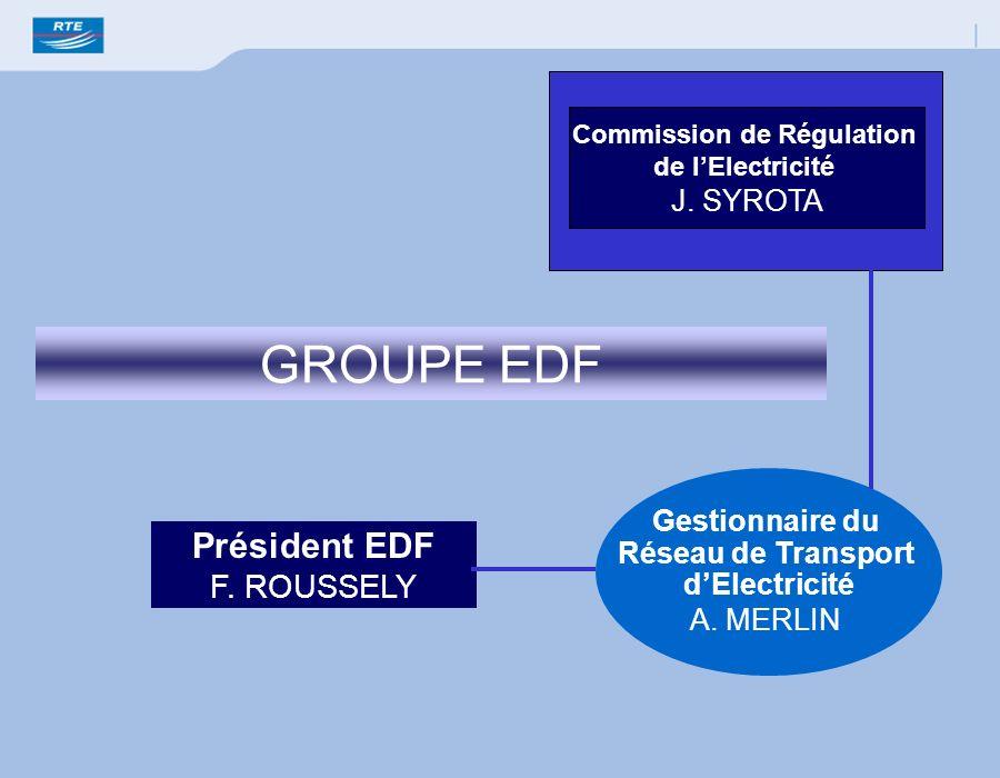 Président EDF F. ROUSSELY GROUPE EDF Gestionnaire du Réseau de Transport dElectricité A. MERLIN Commission de Régulation de lElectricité J. SYROTA