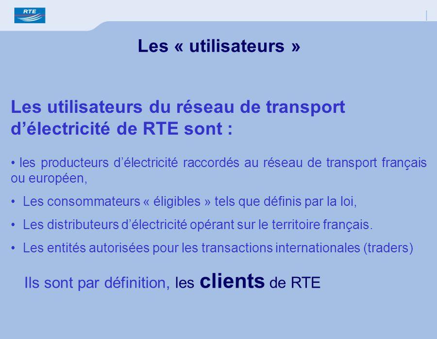 Les utilisateurs du réseau de transport délectricité de RTE sont : les producteurs délectricité raccordés au réseau de transport français ou européen,