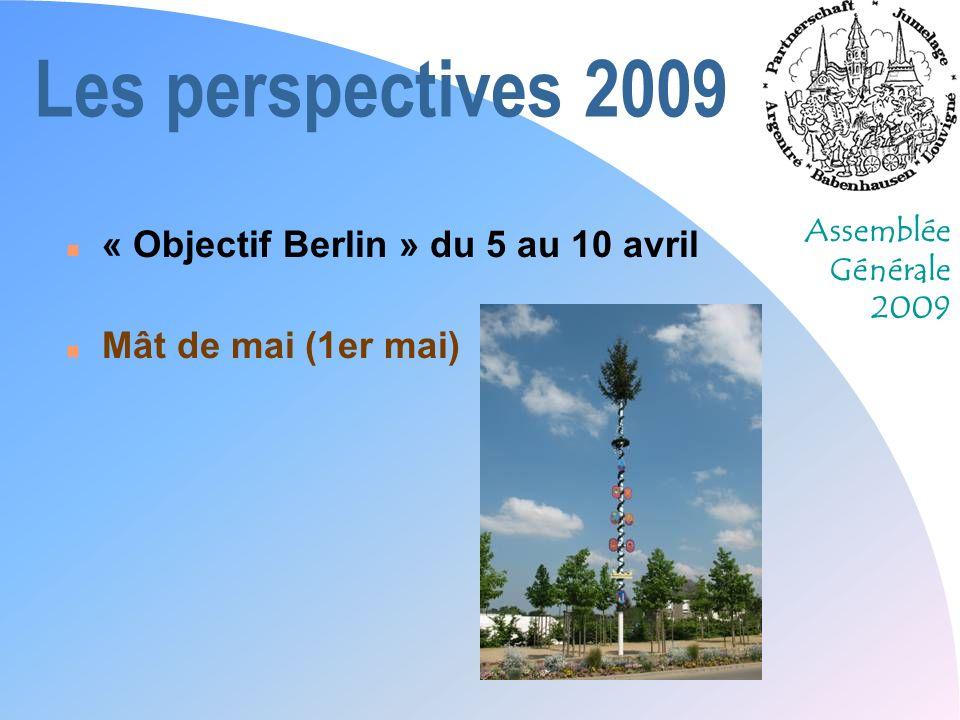 Assemblée Générale 2009 Les perspectives 2009 n « Objectif Berlin » du 5 au 10 avril n Mât de mai (1er mai)