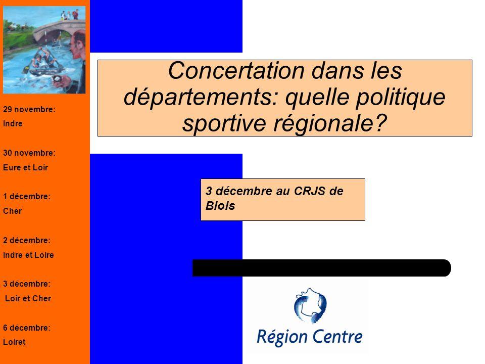 1 Concertation dans les départements: quelle politique sportive régionale? 3 décembre au CRJS de Blois 29 novembre: Indre 30 novembre: Eure et Loir 1