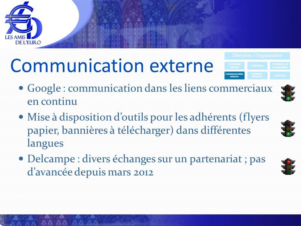 Communication externe Google : communication dans les liens commerciaux en continu Mise à disposition doutils pour les adhérents (flyers papier, banni
