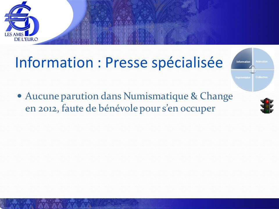 Information : Presse spécialisée Aucune parution dans Numismatique & Change en 2012, faute de bénévole pour sen occuper Information Animation Collection Représentation