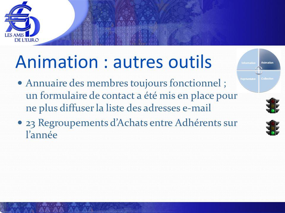 Animation : autres outils Annuaire des membres toujours fonctionnel ; un formulaire de contact a été mis en place pour ne plus diffuser la liste des a