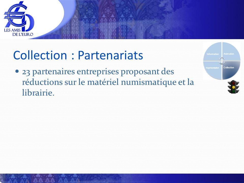 Collection : Partenariats Information Animation Collection Représentation 23 partenaires entreprises proposant des réductions sur le matériel numismatique et la librairie.