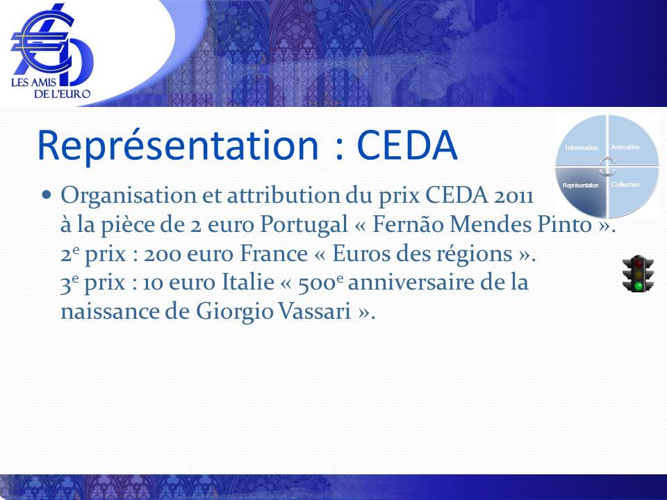 Représentation : CEDA Organisation et attribution du prix CEDA 2011 à la pièce de 2 euro Portugal « Fernão Mendes Pinto ».
