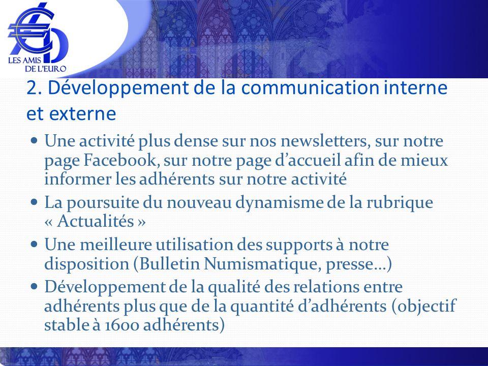 2. Développement de la communication interne et externe Une activité plus dense sur nos newsletters, sur notre page Facebook, sur notre page daccueil