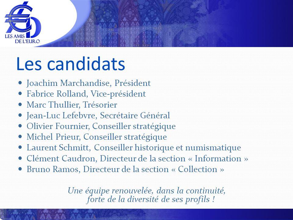 Les candidats Joachim Marchandise, Président Fabrice Rolland, Vice-président Marc Thullier, Trésorier Jean-Luc Lefebvre, Secrétaire Général Olivier Fo